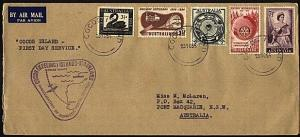 COCOS IS 1955 cover - nice franking Australian stamps......................23516