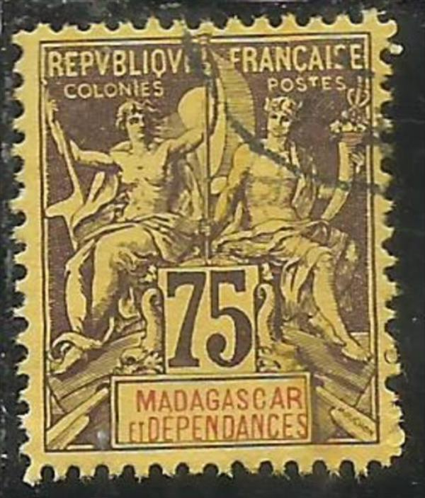 FRENCH MADAGASCAR FRANCESE 1896 1906 PAIX NAVIGATION AND COMMERCE 1900 CENT. ...