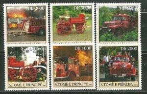 St. Thomas & Prince Islands MNH 1471A-F Various Fire Trucks SCV 9.00