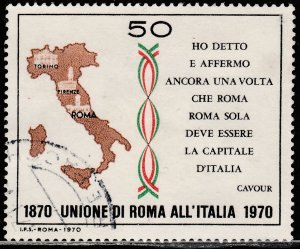 ITALY 1019, CENTENNIAL OF THE UNION OF THE ROMAN STATES. USED  VF. (438)