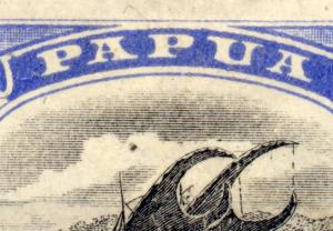 Papua 1907 sg 51 2 1/2d blk and bright ultram, COMET flaw posn