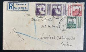1934 Jerusalem Palestine Registered Cover To Neustadt Germany Stamps W Tabs