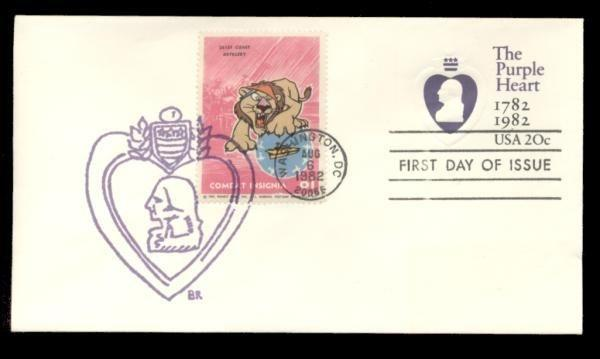 251st Coast Artillery Poster Stamp on Purple Heart #U603 FDC