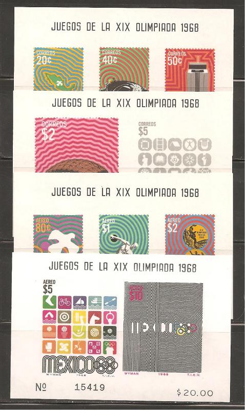 Mexico SC 998a, 1000a, C342a, C344a Mint Never Hinged