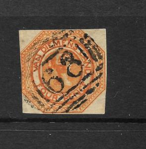 TASMANIA  1853  4d   BRIGHT BROWNISH ORANGE  QV  FU    SG 6