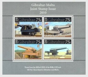 2010 GIBRALTAR -  MS1347- 100 TONS GUNS - UNMOUNTED MINT MINI SHEET JOINT ISSUE