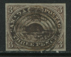 Canada 1852 3d red imperf Beaver 4 choice even large margins used, oxidized