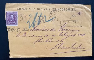 1888 Batavia Netherlands indies Commercial Was Seal Cover To Amsterdam Holland