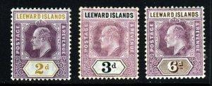 LEEWARD ISLANDS King Edward VII 1905-8 Wmk Mult Crown CA SG 31 SG 33 SG 34 MINT