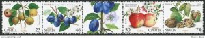 Stamps Serbia, 2017, Flora - Fruits, Strip, MNH, Mi# 737/40