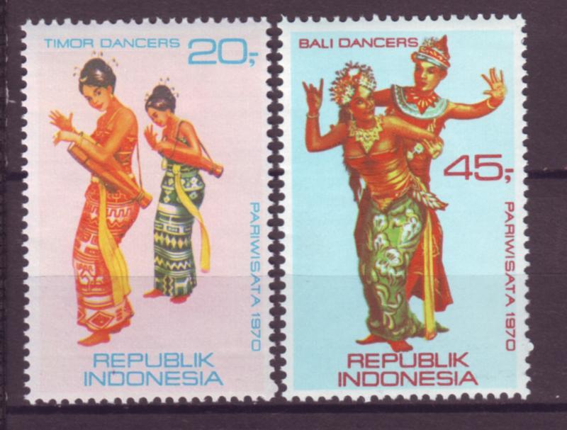 J21035 Jlstamps 1970 indonesia set mh #787-8 dancers