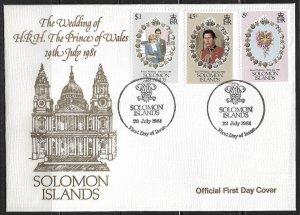 1981 Solomon Islands 450-2 Royal Wedding FDC
