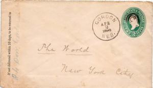 United States Nebraska Gordon 1890 target  Postal Stationery Envelope.