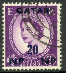 QATAR 1957 QE2 20np on 3d Wilding Portrait Issue Sc 7 VFU