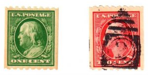 USA #390 MINT H and #391 USED - Both stamps are VF +++