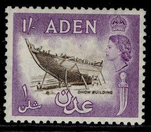 ADEN QEII SG62, 1s sepia & reddish violet, NH MINT.