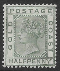 Gold Coast 1/2d green Queen Victoria issue of 1884, Scott 11 MH
