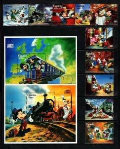 UGANDA - 1996 - DISNEY - MICKEY - TRAINS - ORIENT EXPRESS - MNH SET + S/SHEETS!