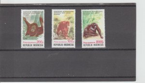 Indonesia  Scott#  1479-1481  MNH  (1991 Int'l Conference on the Great Apes)