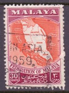 Malaya Federation Scott 83 - SG4, 1957 Map 30c used