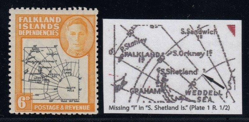 Falkland Islands, SG G6b, MNH Missing I in Shetland Is. variety