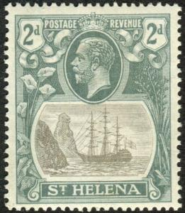 ST HELENA-1922-37 2d Grey & Slate CLEFT ROCK.  A lightly mounted mint  Sg 100c