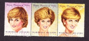 Marshall Islands #645 Princess Diana MNH horizontal strip of 3