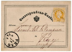 (I.B) Austria Postal : Postcard 2kr (Prague 1874)