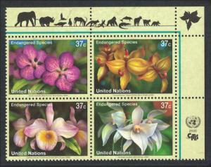 UN New York Orchids Block of 4 SG#944-947 MI#973-976 SC#876-879