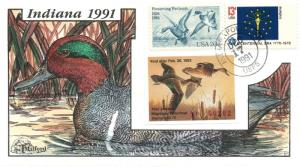 1991 Indianapolis Indiana USA Duck Stamp Milford Hand Painted First Day Cover