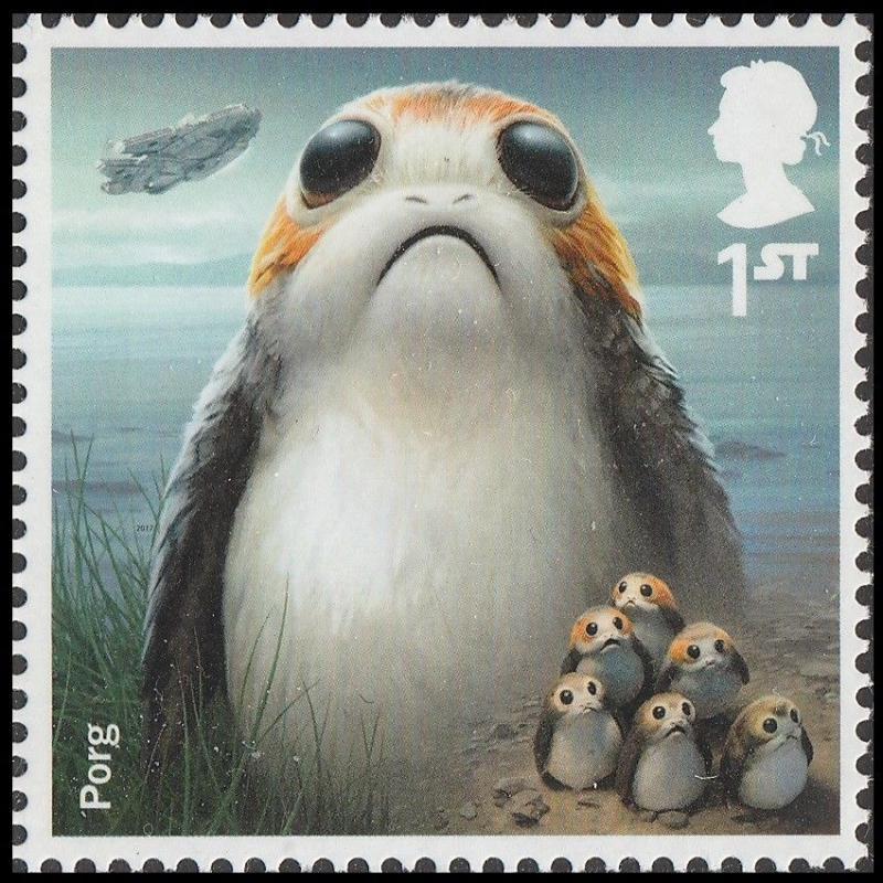 Uk Star Wars Characters Porg Single 1 Stamp Mnh 2017