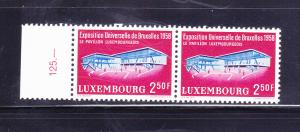 Luxembourg 333 Pair Set MNH Brussels Worlds Fair Pavilion (A
