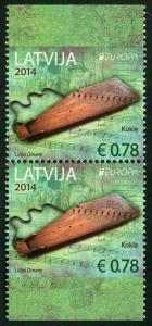 HERRICKSTAMP LATVIA Sc.# 872a EUROPA 2014 Musical Instruments Booklet Pair