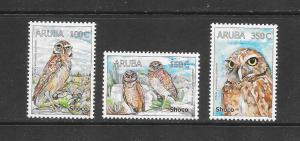 BIRDS - ARUBA #324-26  OWLS  MNH