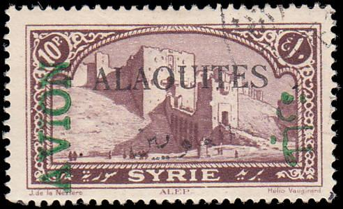 Alaouites Scott C8 View of Aleppo, Green Overprint Used  (CTO)