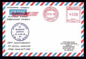 1991 Opening Glasgow Airport Anniv. flown signed cover (double franking) WS10689
