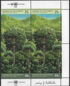 United Nations 1988 NY Survival of the Forrest SC# 522-523  MNH