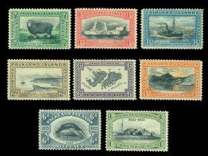 FALKLAND ISLANDS 1933 Centenary Pictorials  ½c to 1sh  Scott# 65-72 mint MLH