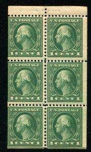 (1917-19) #498e 1¢ Washington unused NH booklet pane