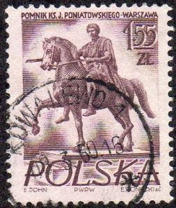 Poland 739 - Used - 1.55z Statue of Prince J. Poniatowski / Horse (1956)