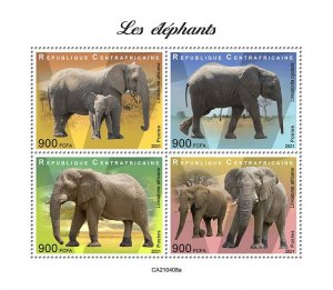 C A R - 2021 - Elephants - Perf 4v Sheet - Mint Never Hinged