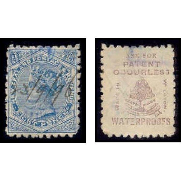 New Zealand 1893 8d Stamp w/ Advertising Underprint