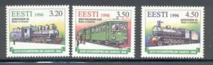 Estonia Sc 310-12 1996 Narrow Gauge railways stamp  set  mint NH