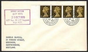 GB SCOTLAND 1970 cover HMAV AKYAB navy ship cachet - Greenock cds..........13891