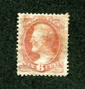 x0474 - USA Sc# 159 Used - 6c Lincoln - Light Red Cancel