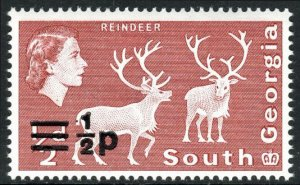 South Georgia 17a, Wmk. 314 upright, MNH. Definitive. Surcharged. Reindeer, 1973
