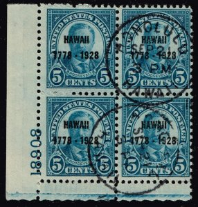 US STAMP #648 1928 5¢ Discovery of Hawaii PL# BLK OF 4 USED HAWAII CDS  - RARE