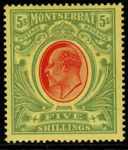 MONTSERRAT SG47 1909 5/= RED & GREEN/YELLOW MTD MINT