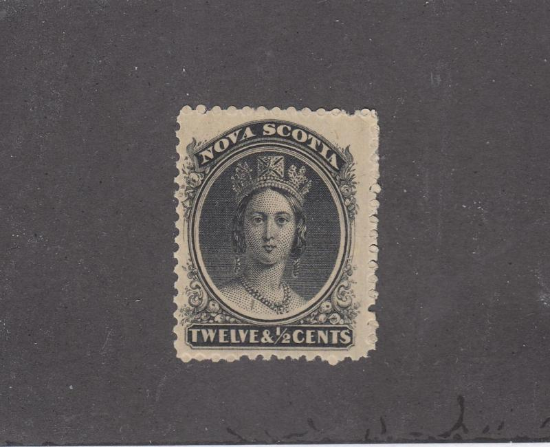 NOVA SCOTIA REF# KM23 # 13 VF-MLH 12 1/2cts Q/VICTORIA BLACK CAT VALUE $60