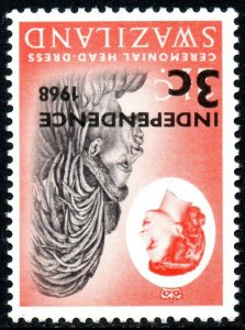 1968 Swaziland Sg 146w 3c on 2½c black and vermilion Watermark Inverted